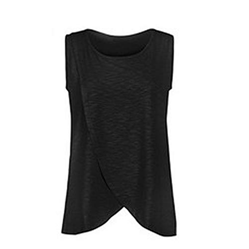 Women's V Neck Short Sleeve Comfy Layered Nursing Top and Shirts for Breastfeeding (G-Black, Small)