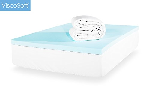 ViscoSoft 4-Inch Cal King Luxury Dual Layer Gel-Infused Memory Foam Mattress Topper - Includes Quilted, Down-Alternative Pillow Top Cover - Made in USA by ViscoSoft