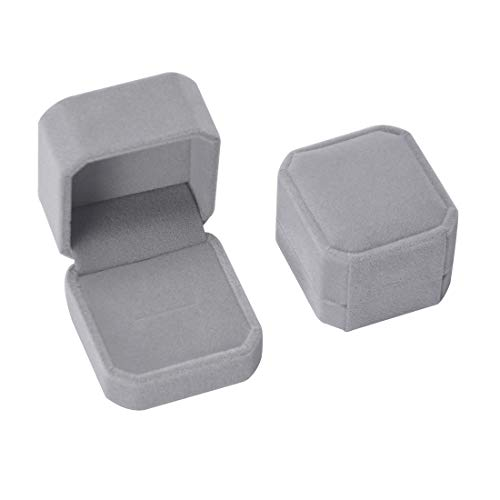 (iSuperb Set of 2 Gray Velvet Couple Ring Box Earring Jewelry Case Gift Boxes 2.2x1.9x1.6inch. )
