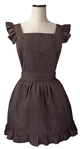 LilMents Retro Adjustable Ruffle Apron with Pockets Black Small to Plus Size Ladies