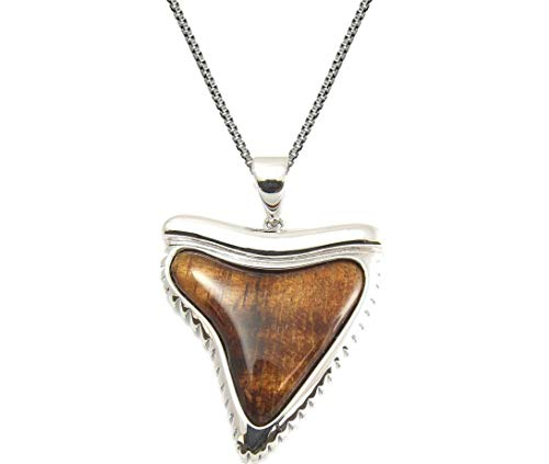 Aloha Jewelry Company Sterling Silver Koa Wood Shark Tooth Necklace Pendant with 18