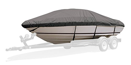 Survivor Marine Products Boat Cover for Aluminum V-Hull Fishing Boat with Motor Hood, Gray, 14-Feet 5-Inch - 15-Feet 4-Inch Length Overall x 75-Inch Beam Width