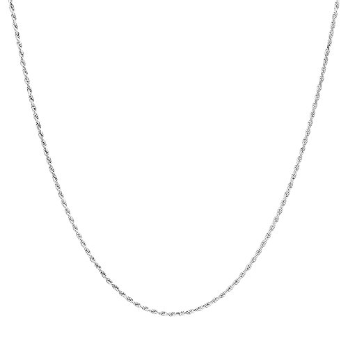 NYC Sterling Unisex Sterling Silver 040-Gauge Diamond-Cut Rope Chain Necklace- 2MM (22)