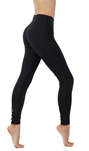- CodeFit Yoga Pants Power Flex Dry-Fit with CRIS Cross Leg Cutouts 7/8 Length Soled Color Leggings Key Pocket (S US Size 4-6, CF321/200-BLK)