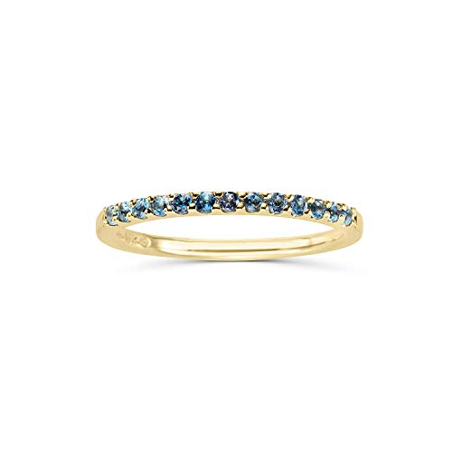 14K Yellow Gold 1/4 Cttw Genuine Blue Topaz Stackable 2MM Wedding Anniversary Band Ring - December Birthstone, Size 5.5