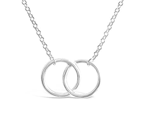 Rosa Vila Double Circle Necklace - Circle of Life Necklace for Women (Silver Tone) - Silver Double Circle Necklace
