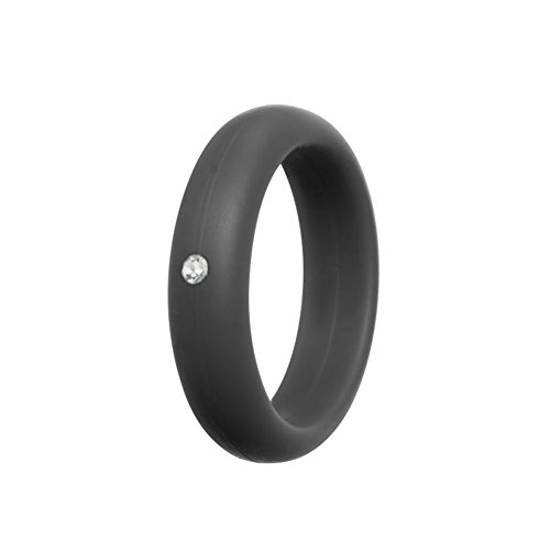 - Simpleonly Women Silicone Wedding Band with Rhinestone Diamond, Grey Gunmetal Thin Rubber Bands Narrow Elastic Non Metal for Mechanic Workout, Athlete Exercise, Sport Keep Fit