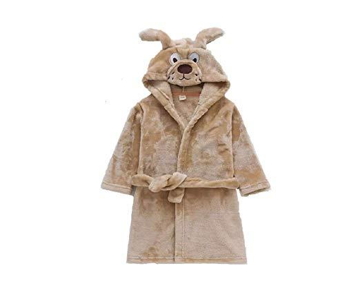 (MATISSA Children's Robe Dressing Gown Bathrobe Animal Hooded Towel Robe Sleepwear Cosplay Kids Costumes Pajamas (Small, Brown Dog))