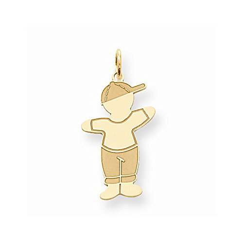 - The Kids Collection 14K Yellow Gold Laser Cut Cuddle Boy with Baseball Cap Charm Pendant