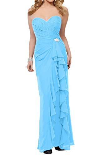 Hell Schmaler Damen Bodenlang Chiffon Brautjungfernkleider Partykleider Marie Braut Schnitt Festlich Formale La Einfach Blau vq74xY