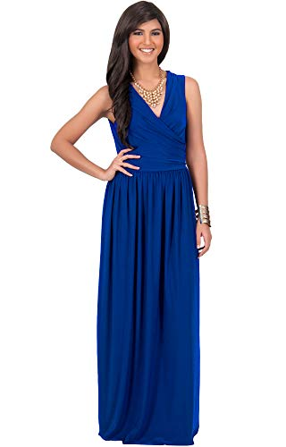KOH KOH Womens Long Sleeveless Sexy Summer Semi Formal Bridesmaid Wedding Guest Evening Sundress Sundresses Flowy Gown Gowns Maxi Dress Dresses, Cobalt/Royal Blue L 12-14