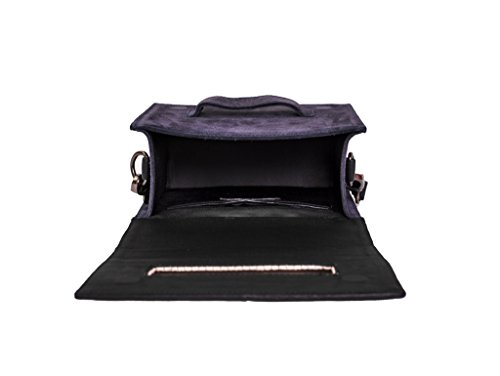 Paint Genuine Leather Navy Blue box Sling Bag
