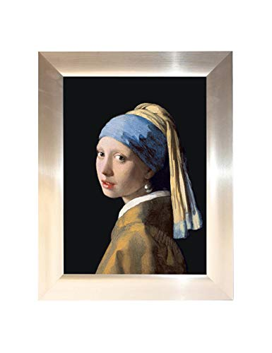 Eliteart -Girl with a Pearl Earring Giclee Framed Art Canvas Prints Framed (12x16)