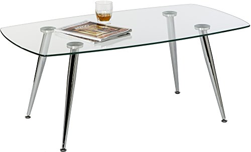 Mango Steam Pacifica Coffee Table – Radius – Clear Tempered Glass Top and Chrome Tube Base