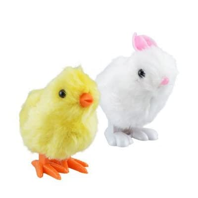 Plush Pair of Hopping Wind-Up Friends! - Bunny AND Chick - Combo Pack of 2 (Colors May Vary): Toys & Games