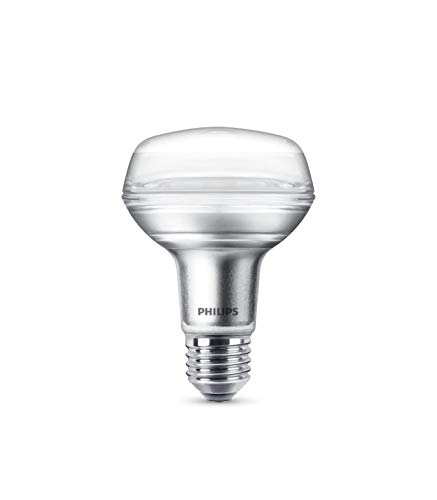 Philips bombilla LED reflectora casquillo gordo E27, ángulo de apertura 36º, 4 W equivalentes a 60 W en incandescencia, 345 lúmenes, luz blanca cálida: ...
