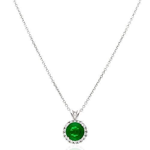 "14k Yellow Gold White Gold CZ Halo Round Solitaire Birthstone Pendant 0.43"", Emerald, White Gold"