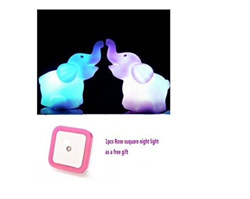 Zjskin 1 Pair (2pcs) Elephant LED Night Light with Battery