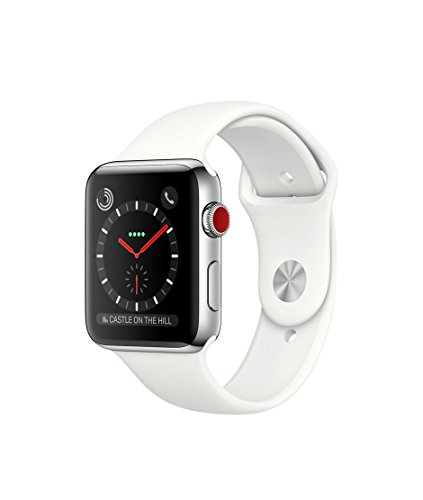 Apple watch series 3 Stainless steel case 42mm GPS + Cellular GSM unlocked (Stainless Steel Case with Soft White Sport Band) by Apple