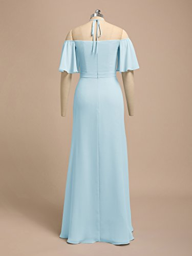 Bridesmaid Dresses Formal Pink for Long Women's Chiffon Alicepub Silver Maxi Dress Evening q1HEw1F