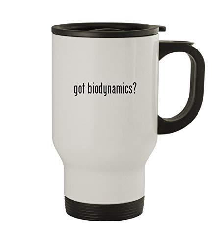 got biodynamics? - 14oz Sturdy Stainless Steel Travel Mug, White