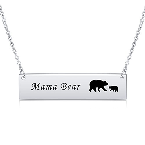 Mother Necklace 925 Sterling Silver Honey Family Mama Bear Cubs Bar Necklace Mother's Day Gifts for Women,16 inch (925 Sterling Honey Silver)