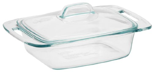 Pyrex Easy Grab 2-Quart Casserole Glass Bakeware Dish with Glass Lid 11 Inch Covered Square Casserole