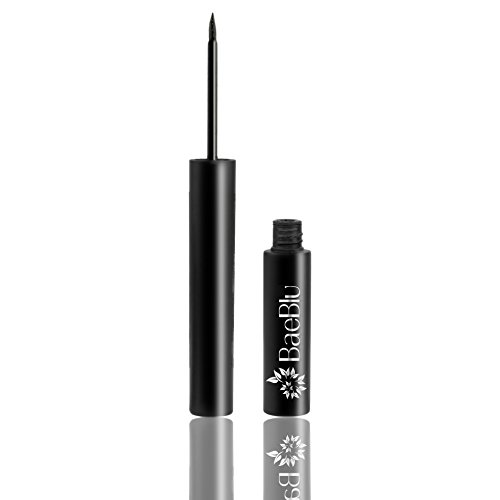 BaeBlu Organic Liquid Eyeliner, 24 Hour Wear, Waterproof, Non-Irritating 100% Natural, Gluten Free, Deep Black (Best Natural Organic Eyeliner)