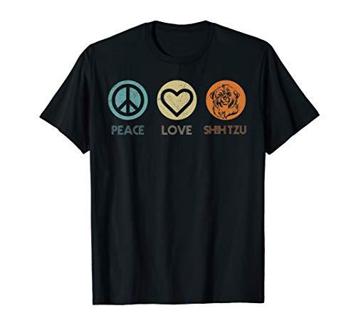 Retro Vintage Peace Love Shih Tzu Tshirt Dog Lover Gifts