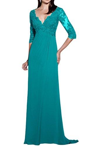 Spitze Blau V Ivydressing 4 Aermel Exquisite Ausschnitt Damen Promkleid Festkleid 3 Lang Chiffom Abendkleid wnOx0