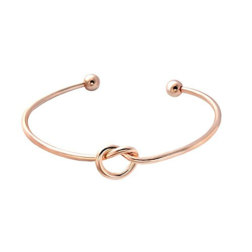 (SENFAI Love Knot Bangle Bracelet Simple Knot Bangle Cuffs Women Stretch Bracelet Gold Silver Knot Bangles(Stainless Steel Bracelet))