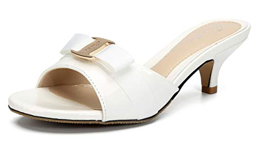 Jiu du Women's Slingback Slippers Cute Bowknot Slip On Open Toe Low Heels Ladies Sandals White Patent PU Size US10 EU43
