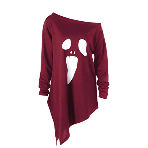 UONQD Women Sweater Halloween Ghost Print Sweatshirt Pullover Tops Blouse (Large,Red)