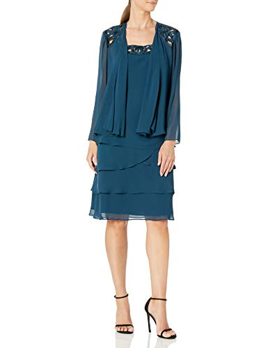 S.L. Fashions Women's Embellished Tiered Jacket Dress (Petite and Regular), Mid Teal, 14