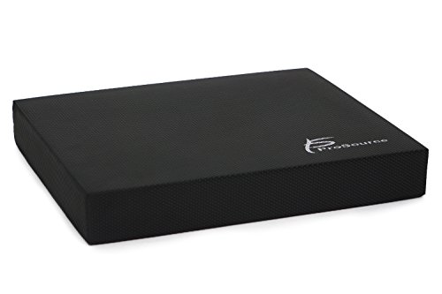 ProSource ps-1036-bp-r-black Exercise Balance Pad - Non-Slip Cushioned Foam Mat & KNEE Pad for Fitness & Stability Training, Yoga, Physical Therapy 15.5