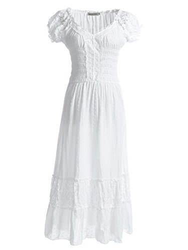 Anna-Kaci Renaissance Peasant Maiden Boho Inspired Cap Sleeve Lace Trim Dress, Cream, -