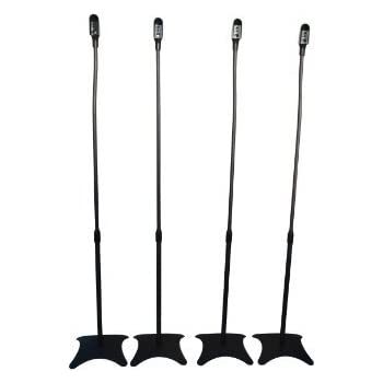 TechSol Essential TSS14-B Universal Surround Sound Speaker Stands to fit Sony, Samsung, LG, Panasonic systems and More - 4 Pack (Black)