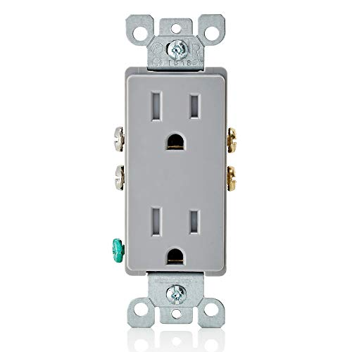 (Leviton T5325-GY 15 Amp 125 Volt, Tamper Resistant, Decora Duplex Receptacle, Straight Blade, Grounding, Gray)