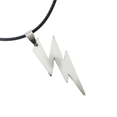 Unique Female Superhero Costume Ideas (Dastan Stainless Steel Necklace Zeus Flash Lightning Bolt Pendant on Leather Cord-The Flash)