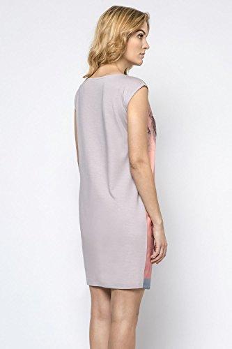 Ennywear 230183 Vestido Mini Estampado Manga Casquillo Escote Redondo Para Mujeres - Hecho En La UE Gris