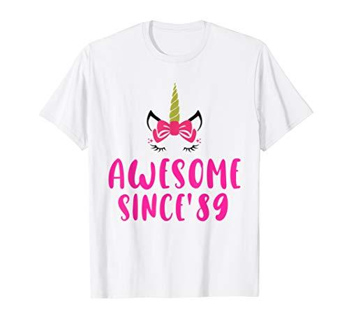 Unicorn 30th Birthday Gift Rainbow 1989 30 Years Old T Shirt
