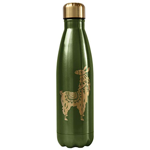 Karma Gifts Llama Stainless Steel Water Bottle, Green