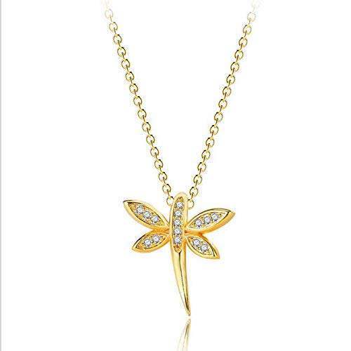 Jewelryamintra European Style Dragonfly 18K Yellow Gold Plated Silver Woman Necklace Pendants ()