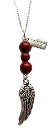 1st Root Chakra Archangel Metatron Red Jasper Gemstone, Angel Wing Charm, Sterling Silver Necklace 18""