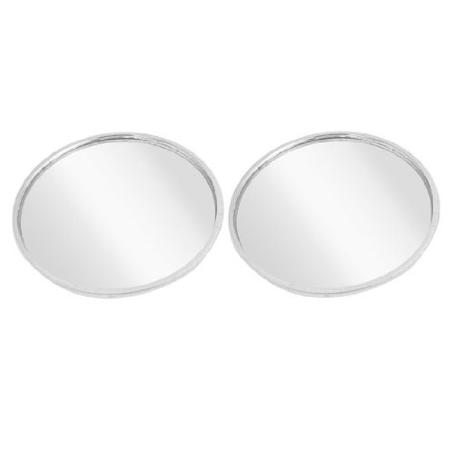 Water & Wood Auto 55mm Dia Silver Tone Wide Angle Rearview Blind Spot Mirror 2 Pcs with Car Cleaning Cloth