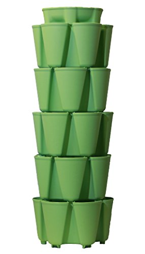 GreenStalk Patented Large 5 Tier Vertical Garden Planter with Patented Internal Watering System Great for Growing a Variety of Strawberries, Vegetables, Herbs, & Flowers (Luscious Green) by Greenstalk