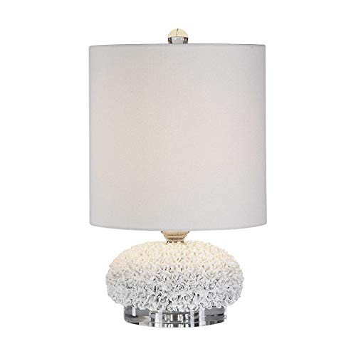 (White Flower Blossoms Petite Floral Buffet Table Lamp French Country Farmhouse)