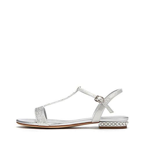 Ladies Comfort Pearl Low Heel Schuhe,Elegant Diamond Strap T-word Schnalle,Chunky Heel Sandalen A