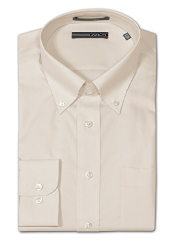 Damon Big and Tall Easy Care Ultra Pinpoint Dress Shirt - Taupe (18.5