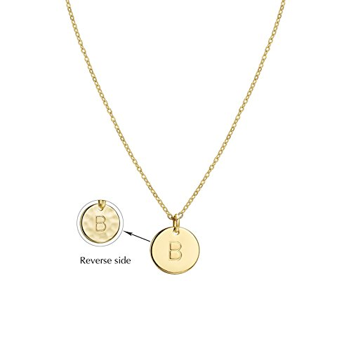 Befettly Initial Necklace Pendant 14K Gold-Plated Round Disc Double Side Engraved Hammered Choker Necklace 16.7 Adjustable Personalized Alphabet Letter Pendant B